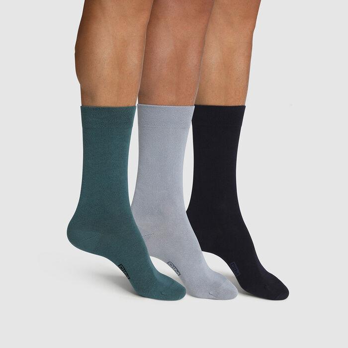 Pack de 3 pares de calcetines para hombre azul verde Basic Coton, , DIM