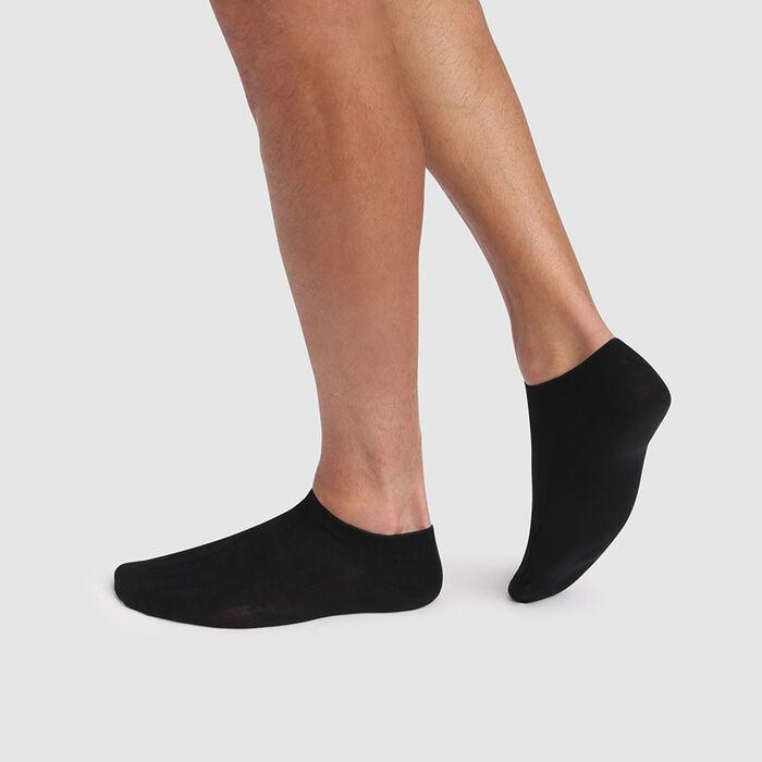 Pack de 2 pares de calcetines tobilleros negros para hombre de hilo de Escocia, , DIM