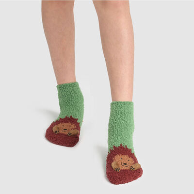 Calcetines para niños antideslizantes estampado erizo 3D verde Kids Cocoon, , DIM