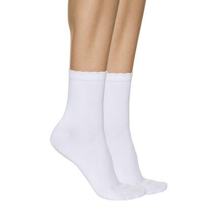 Lote de 2 pares de calcetines bajos blancos segunda piel para mujer, , DIM