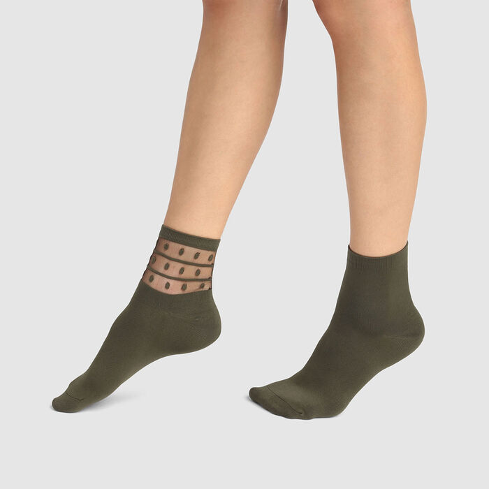 Pack de 2 pares de calcetines para mujer de microfibra verde Dim Skin, , DIM