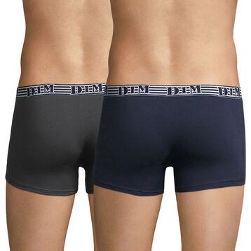 Pack de 2 bóxers de algodón elástico azul y gris EcoDIM Mode, , DIM