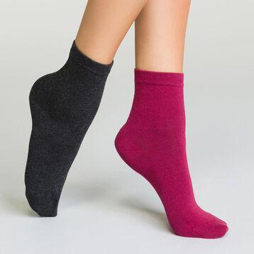 Pack de calcetines bajos de algodón antracita y burdeos Basic Coton, , DIM
