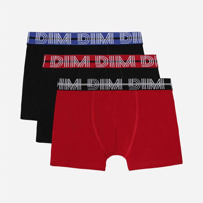Pack de 3 bóxer para niño de algodón elástico con cintura contraste Rubí Ecodim, , DIM