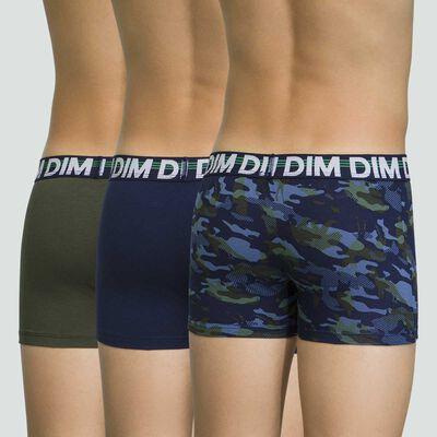 Pack de 3 boxers azul marino de algodón elástico Eco Dim, , DIM