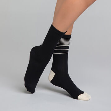 Pack de 2 pares de calcetines negros con lurex dorado - Dim Coton Style, , DIM