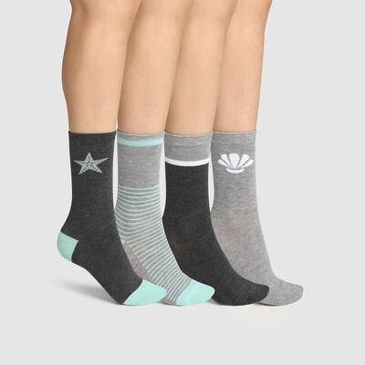 Pack de 4 pares de calcetines para mujer de algodón fantasía gris menta Dim, , DIM