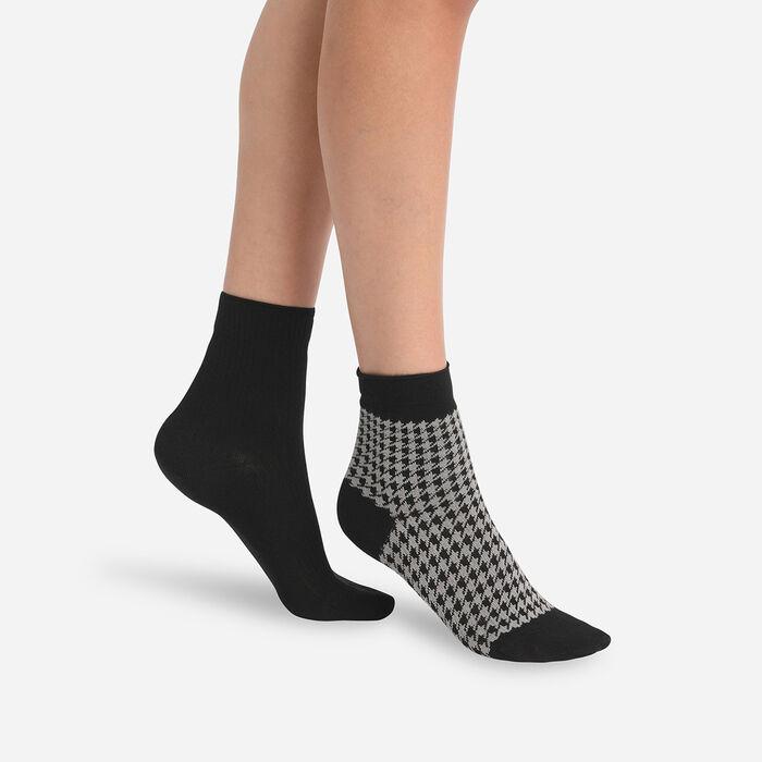 Juego de 2 pares de calcetines de pata de gallo para mujer Negro Dim, , DIM