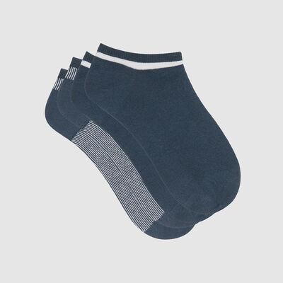 Pack de 2 pares de calcetines bajos azul lurex plateado Coton Style, , DIM