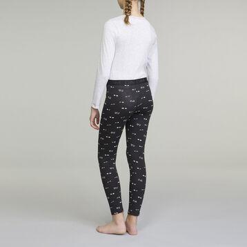 Pijama de manga larga para niña gris claro, , DIM