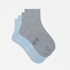 Pack de 2 pares de calcetines bajos algodón azules y grises Basic Coton, , DIM