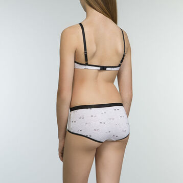 Pack de 3 culottes para niña negros de algodón elástico EYES, , DIM