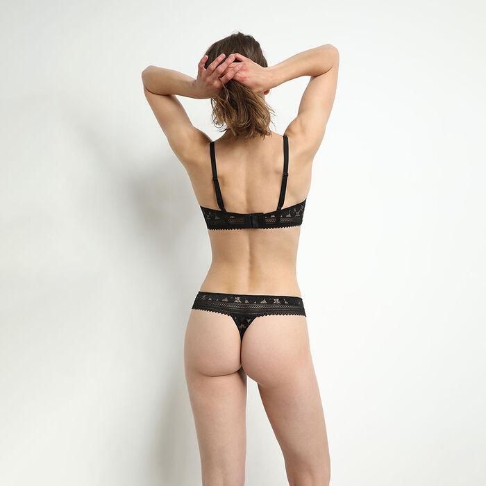 Sujetador sin aros de encaje floral para mujer Negro Daily Glam, , DIM