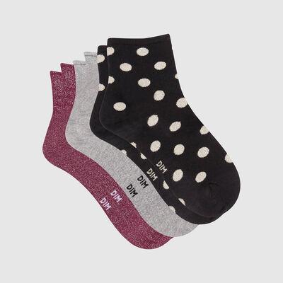 Pack regalo de 3 pares de calcetines bajos en lurex negro gris y burdeos Dim, , DIM