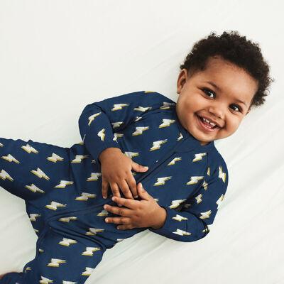 Pijama para bebé con cremallera de algodón elástico gris oscuro estampado rayo héroe Dim, , DIM