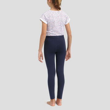 Pijama largo de algodón para niña camiseta y legging azul marino, , DIM