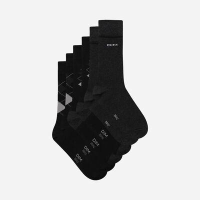Pack de 3 pares de calcetines de hombre con estampado escocés Negro Coton Style, , DIM
