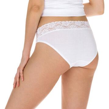 Lot de 2 slips blancs Coton Plus Féminine forme midi-DIM