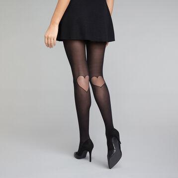 Panti negro con motivo de corazón 20D - Dim  Style, , DIM