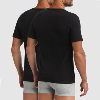 Pack de 2 camisetas negras cuello en forma de V con termorregulación activa XTemp Dim, , DIM