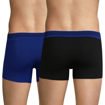 Pack de 2 bóxers azul y negro de algodón elástico - Soft Touch Pop, , DIM