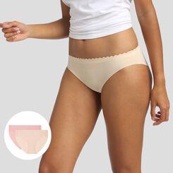 Pack de 2 braguitas beige y rosa Body Touch Microfibre, , DIM