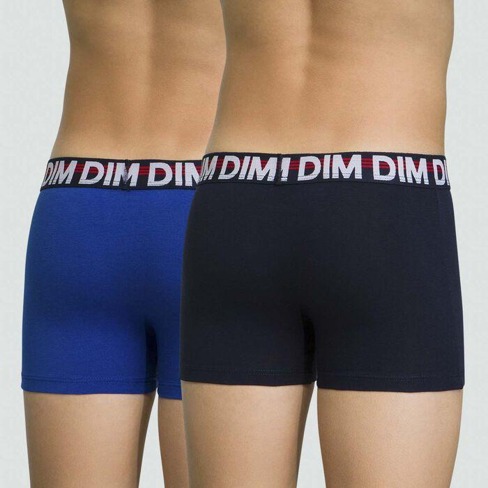 Pack de 2 boxers para niño azules de algodón elástico Eco Dim, , DIM