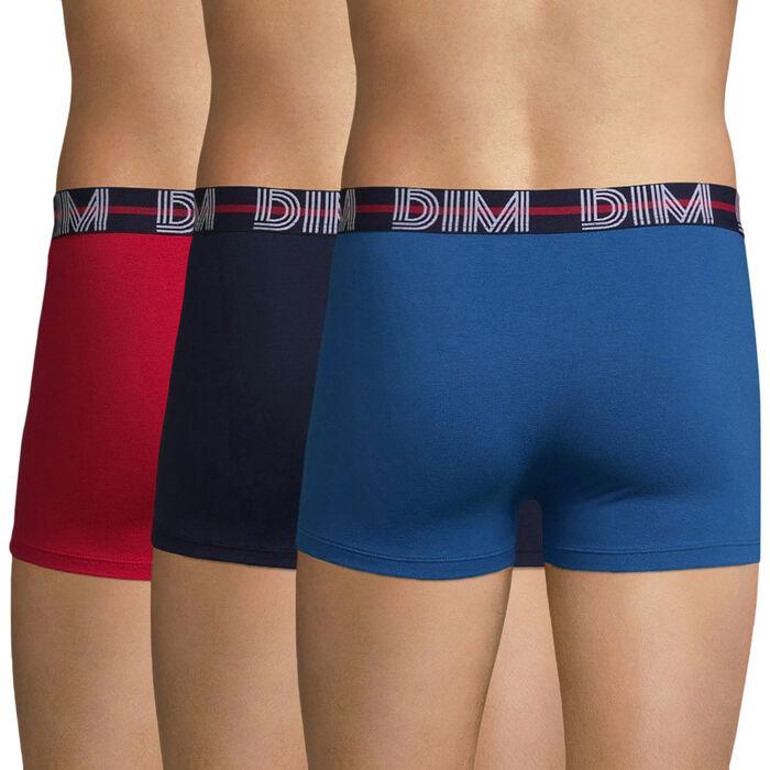 Pack de 3 bóxers de algodón elástico rojo y azules - Dim Powerful, , DIM