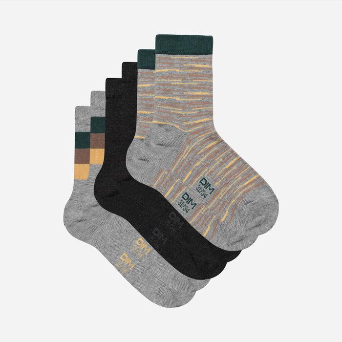 Pack de 3 pares de calcetines para niños con líneas abstractas Coton Style, , DIM
