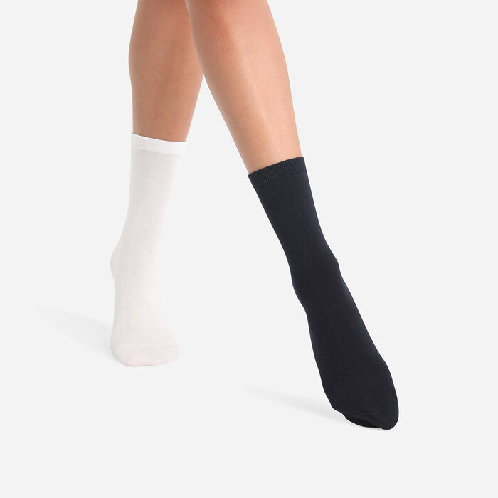 Pack of  2 pairs of Cashmere Blue Grey Basic Cotton Women's Socks, , DIM