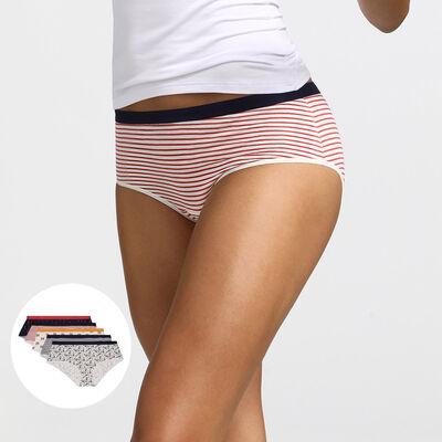 Pack de 5 culottes de algodón elástico estampado daisy colors Les Pockets Dim, , DIM