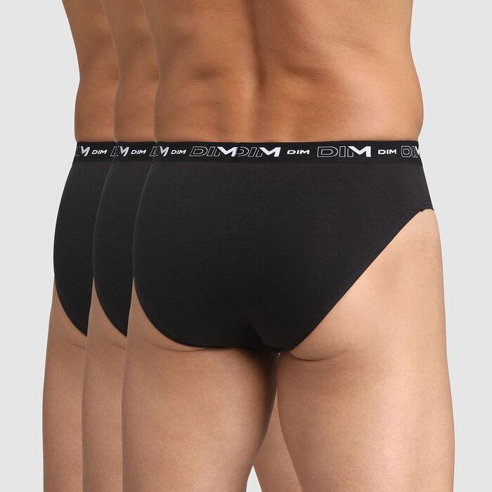Pack de 3 slips negros para hombre de algodón elástico, , DIM