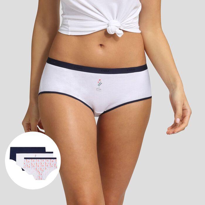 Pack de 3 culottes estampado peonía Les Pockets Coton Strech Dim, , DIM