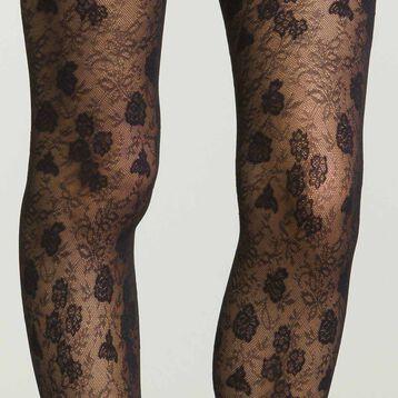 Panti semiopaco negro de encaje floral, , DIM