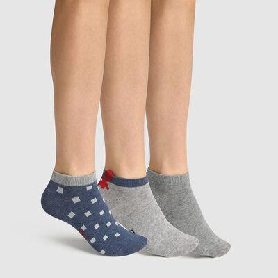 Pack de 3 pares de calcetines bajos para niño estampado cangrejo gris Coton Style, , DIM