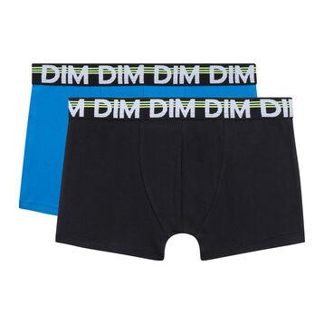 Pack de 2 bóxers negro y azul para niño de algodón elástico Eco Dim 3D, , DIM