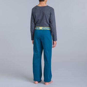 Pyjama 2 pièces pantalon bleu et t-shirt gris chiné DIM Boy-DIM