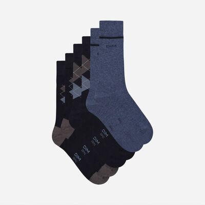 Pack de 3 pares de calcetines de hombre con estampado escocés Azul Coton Style, , DIM