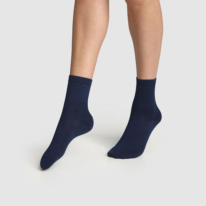 Pack de 2 pares de calcetines de mujer azul marino de algodón mercerizado, , DIM