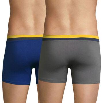 Lot de 2 boxers gris foncé et bleu atlantique Soft Touch Pop-DIM