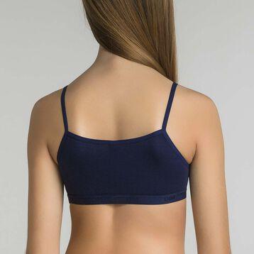 Pack de 2 tops niña azul marino y blanco estampado - Pockets Stripes, , DIM