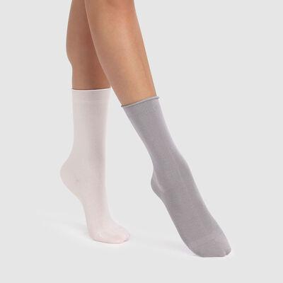 Pack de 2 pares de calcetines modal marfil y gris Dim Modal, , DIM