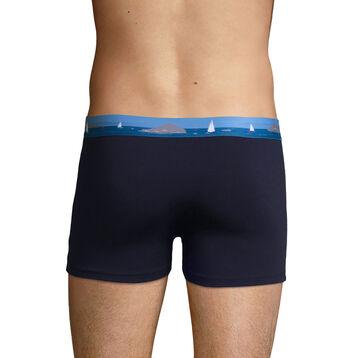 Bóxer azul denim de algodón elástico y cintura estampada , , DIM