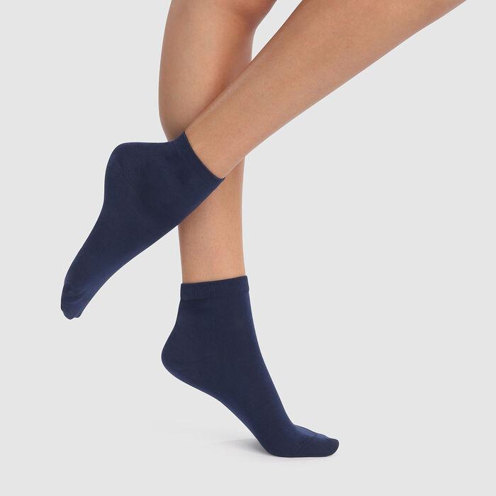 Pack de 2 pars de calcetines bajos de hilo de Escocia azul marino Dim, , DIM