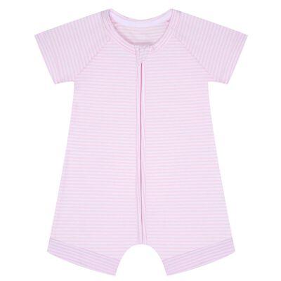 Pijama de manga corta de algodón elástico de rayas rosas y blancas, , DIM