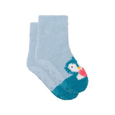 Calcetines para niños antideslizantes estampado pingüino 3D azul Kids Cocoon, , DIM