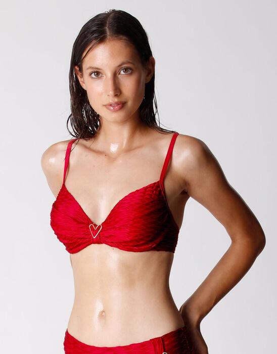 Sujetador de traje de baño rojo con aros para mujer, , DIM