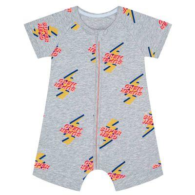 Pijama de manga corta con cremallera de algodón elástico estampado Súper Héroe, , DIM