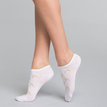 Calcetines bajos blancos con lurex dorado - Dim Coton Style, , DIM