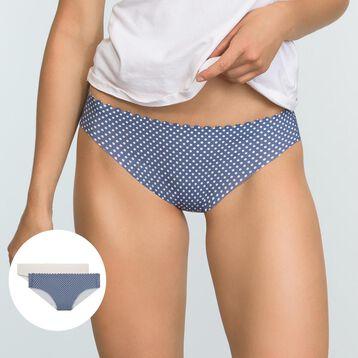 Pack de 2 braguitas de microfibra azul plumetis y marfil Body Touch , , DIM